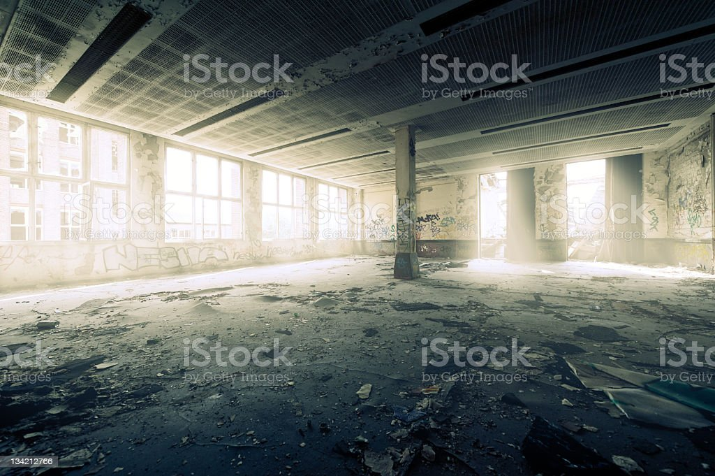 HDR of an old dark dirty abandoned ruin with sunlight royalty-free stock photo