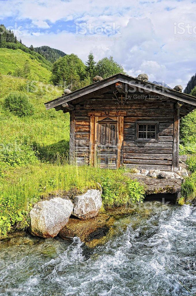 HDR of Barn in alpine Tirol river landscape (Austria) stock photo