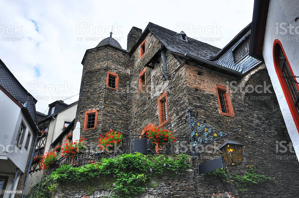 HDR of Beilstein in mosel valley with ancient Zehnthaus stock photo