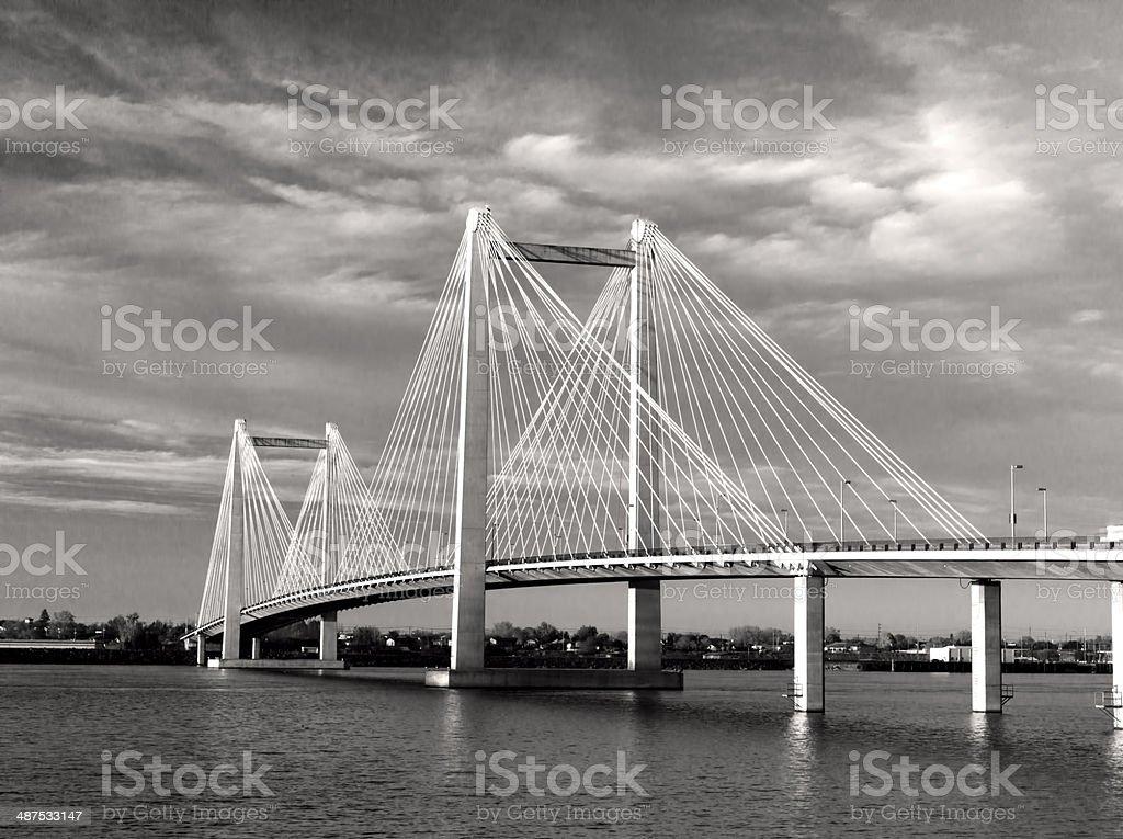 B&W of cable bridge. stock photo
