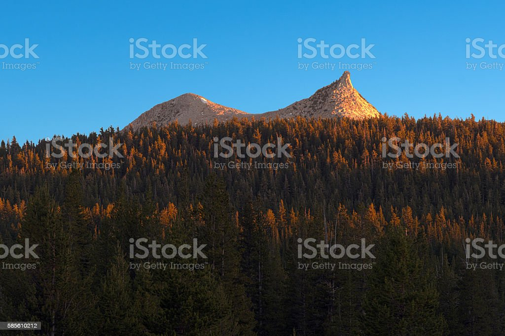 HDR of Cathedral Peak in Yosemite National Park stock photo
