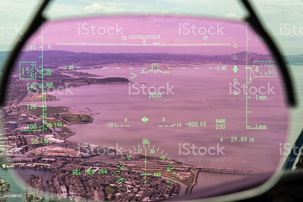 HUD of Dreamliner stock photo