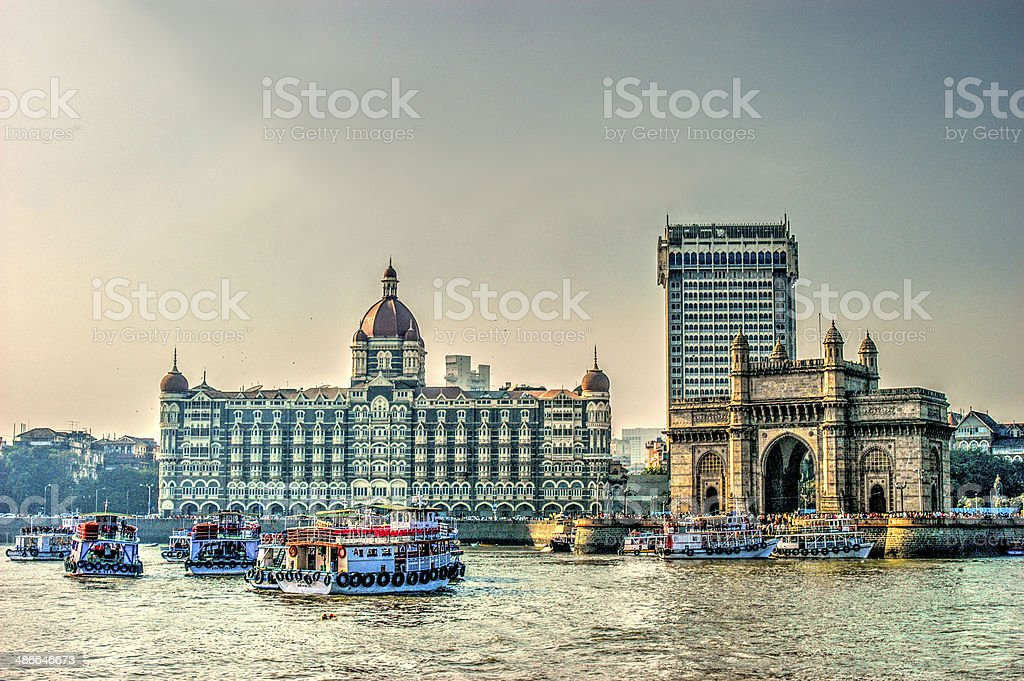HDR of Gate Way of India and Tajmahal Hotel stock photo