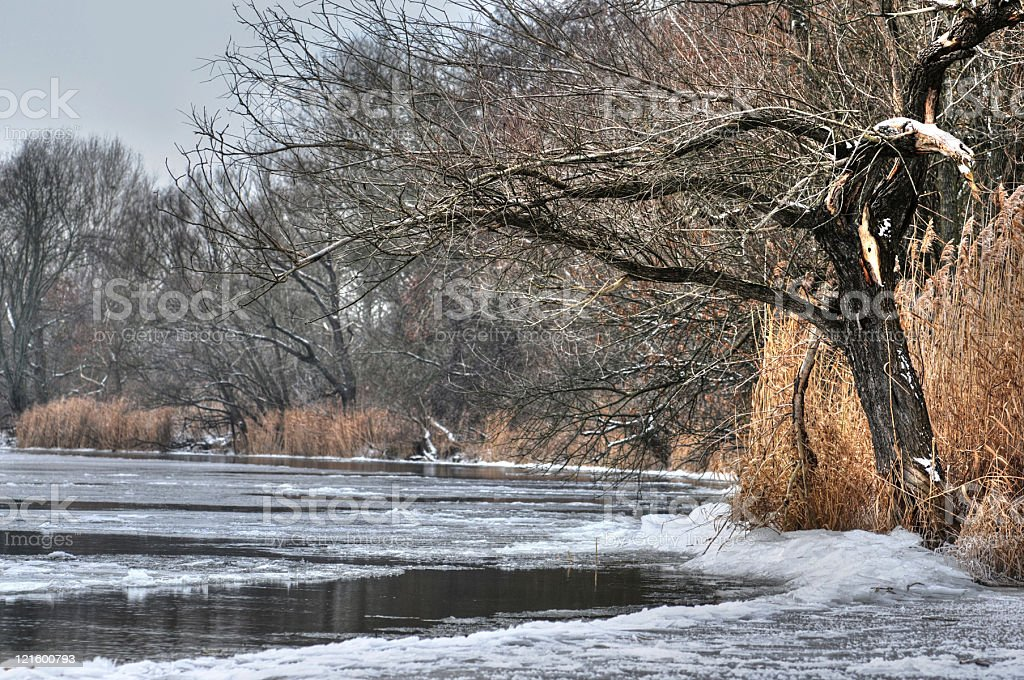 HDR of ice winter landscape on a river stock photo