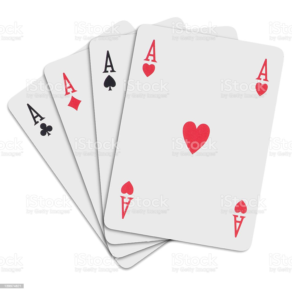 4 of kind aces in a poker hand stock photo