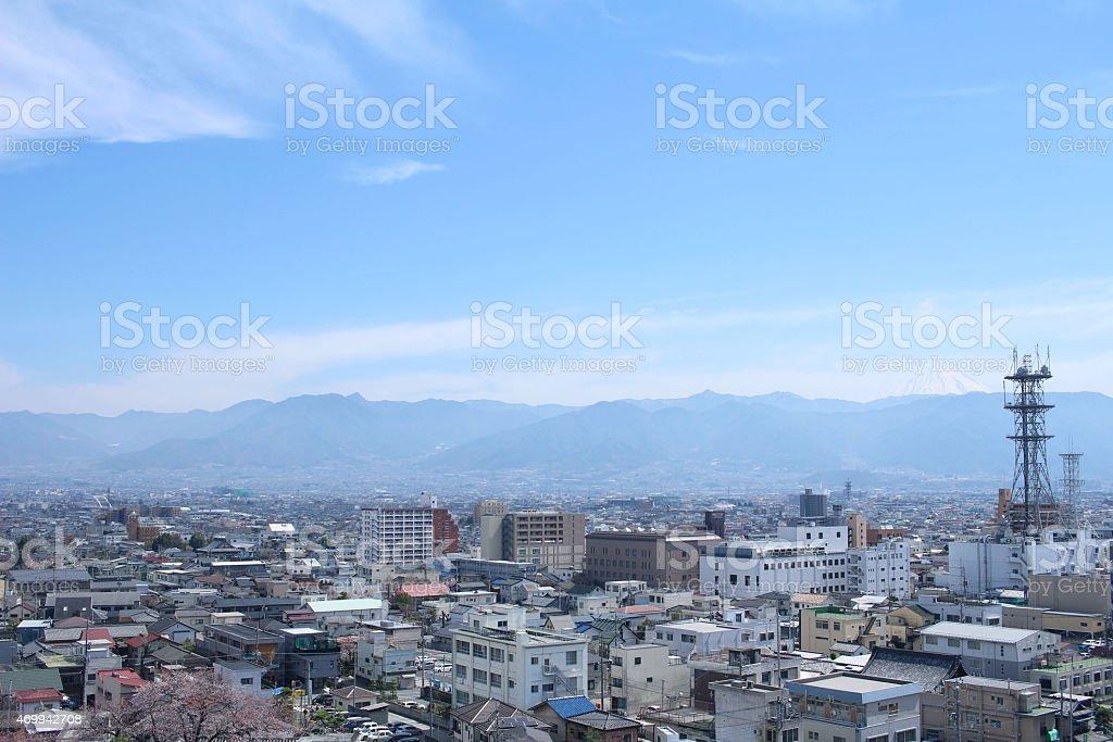 Of Kofu seen from Kofu Castle town and Mount Fuji stock photo