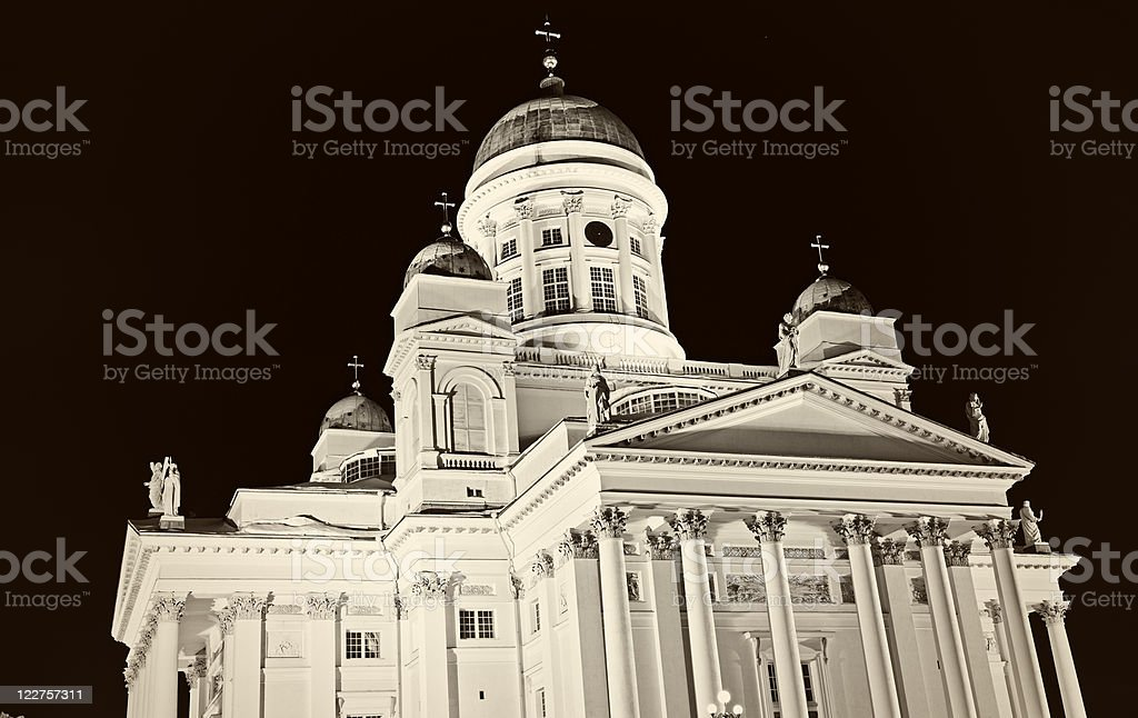 B&W of Lutheran Cathedral royalty-free stock photo