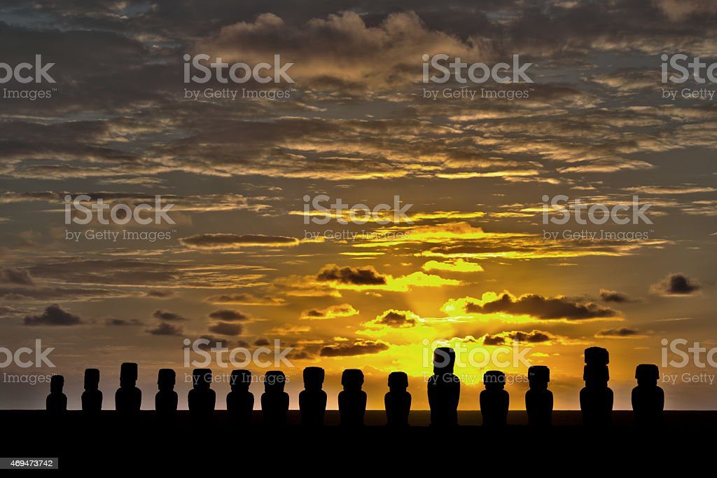 HDR of Moai at Easter Island (Rapa Nui) stock photo