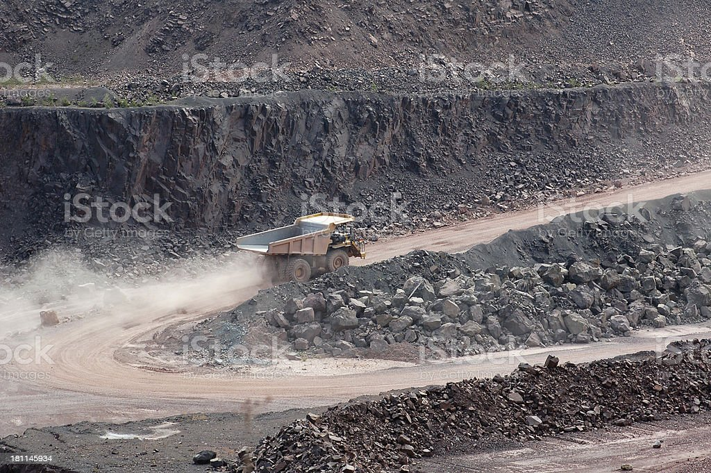 HDR of Open-pit Mine with Dump Truck stock photo