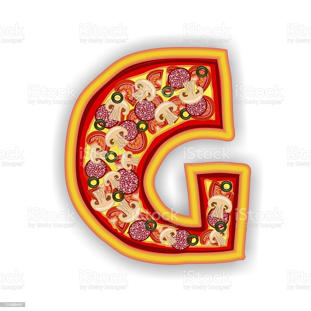 PIZZA - LETTER G of the alphabet royalty-free stock photo