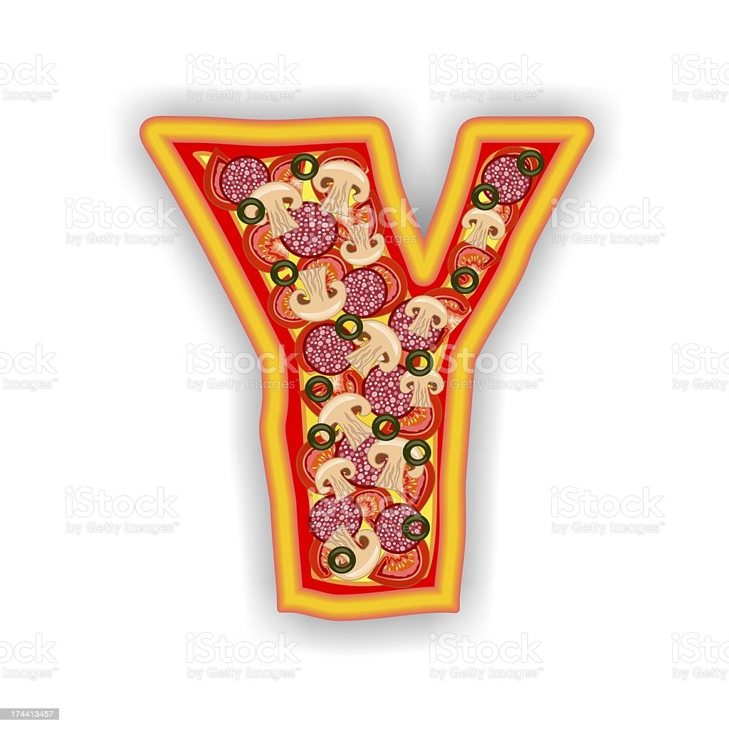 PIZZA - LETTER Y of the alphabet royalty-free stock photo