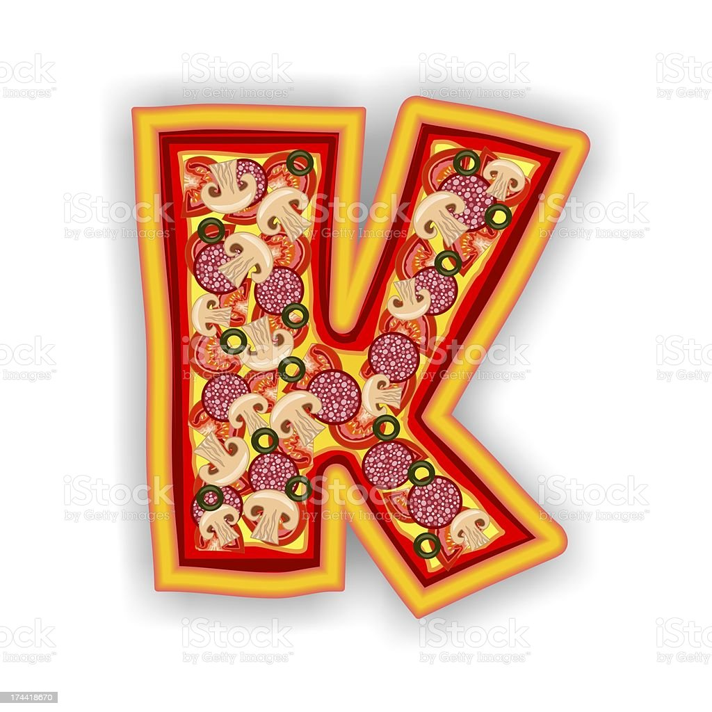 PIZZA - LETTER K of the alphabet royalty-free stock photo