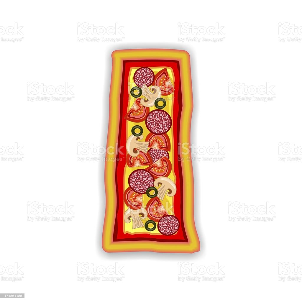 PIZZA - LETTER I of the alphabet royalty-free stock photo