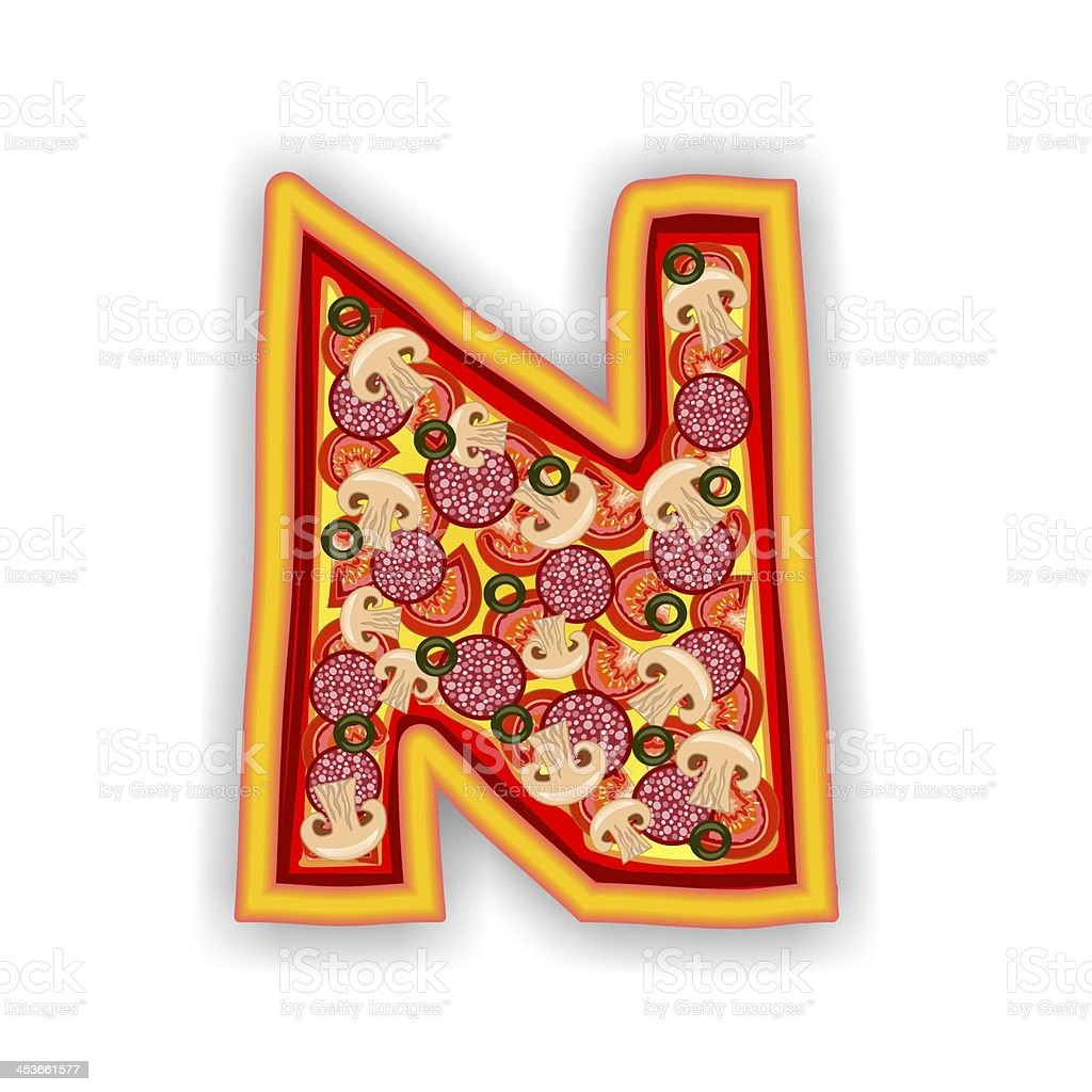 PIZZA - LETTER N of the alphabet royalty-free stock photo