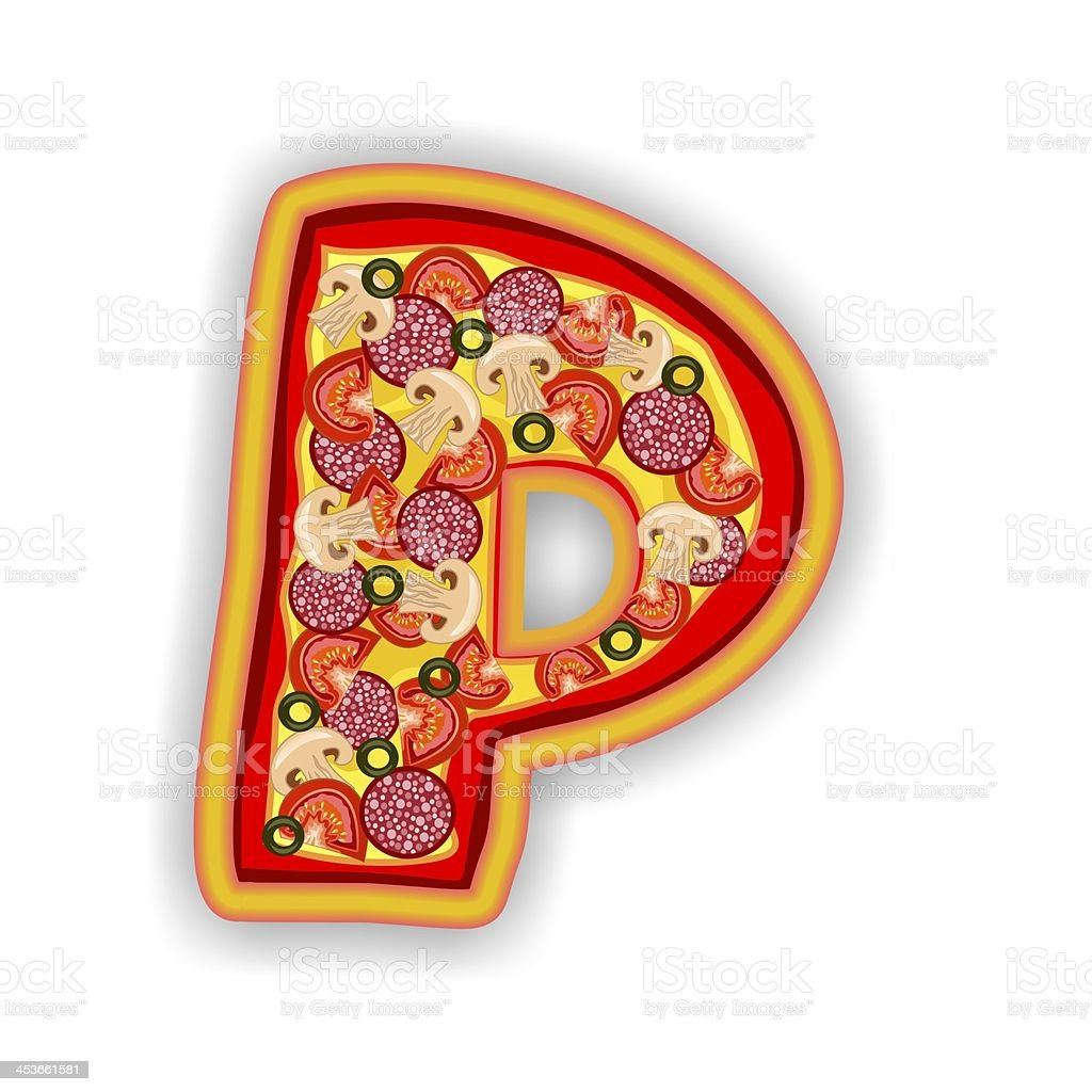 PIZZA - LETTER P of the alphabet royalty-free stock photo