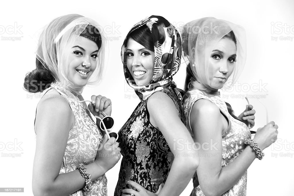 B&W of three fashionable 60s women. royalty-free stock photo