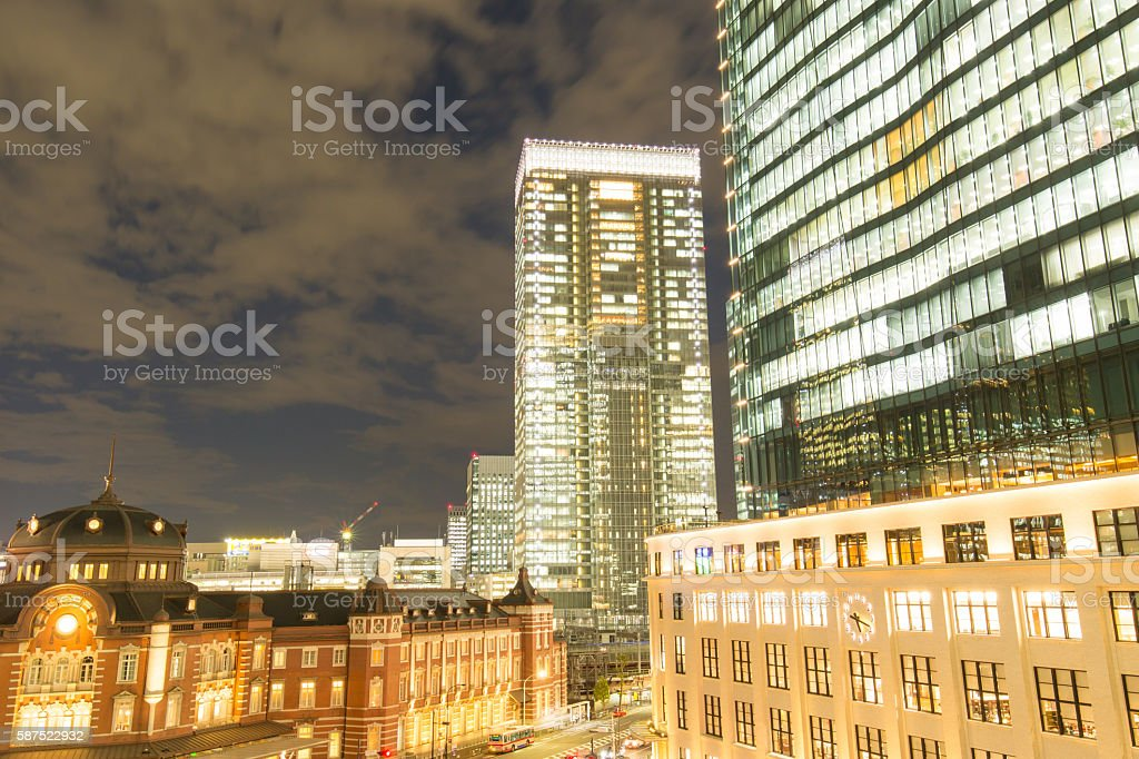 Of Tokyo Station night view stock photo