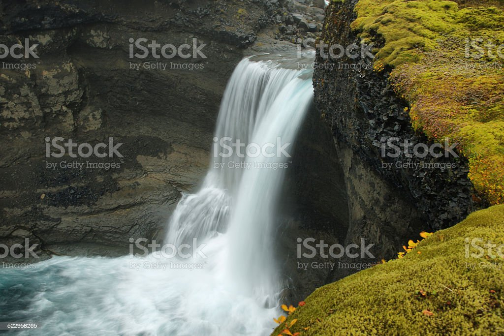 Ofaerufoss waterfall in Eldgja canyon stock photo