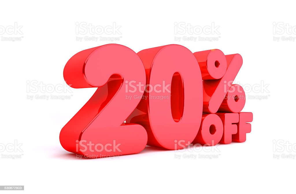 20% Off 3D Render Red Word Isolated in White Background stock photo