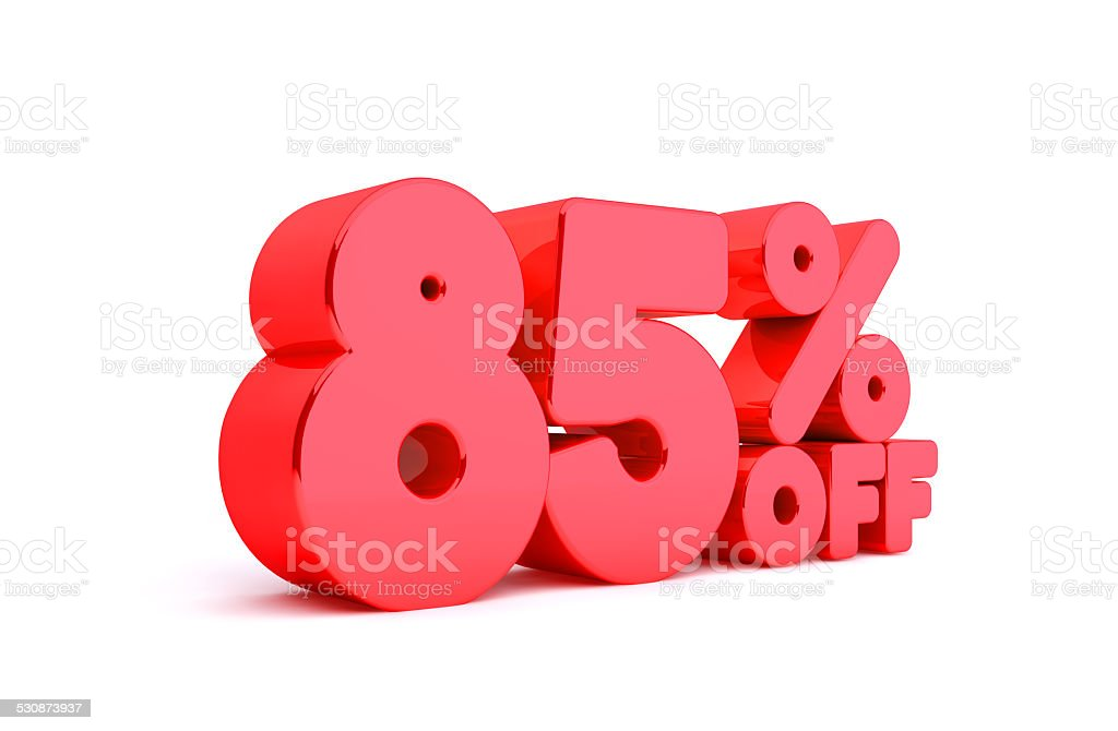 85% Off 3D Render Red Word Isolated in White Background stock photo
