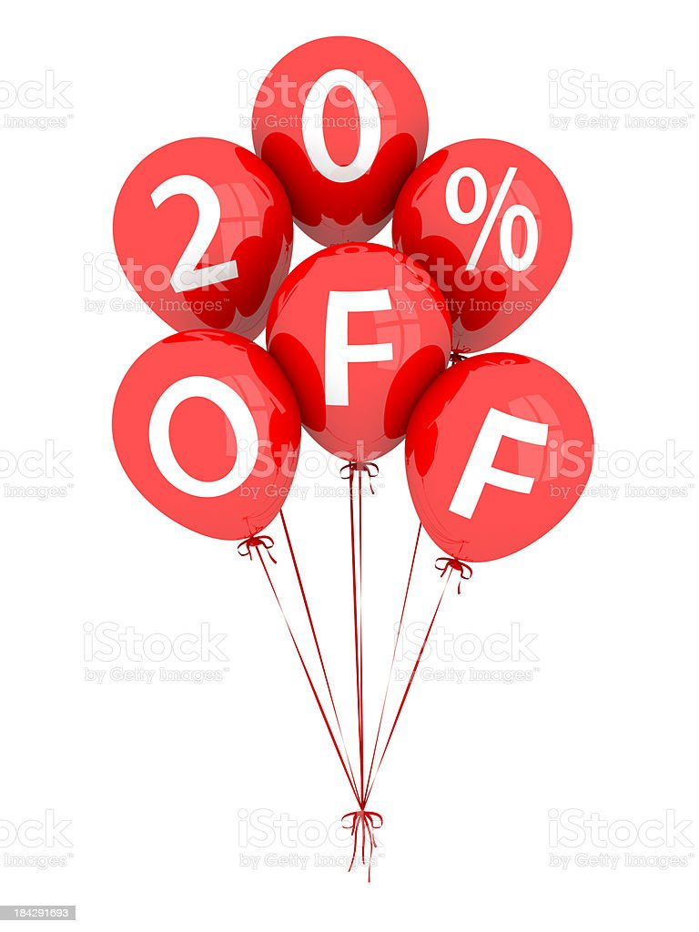 20% Off Balloons royalty-free stock photo