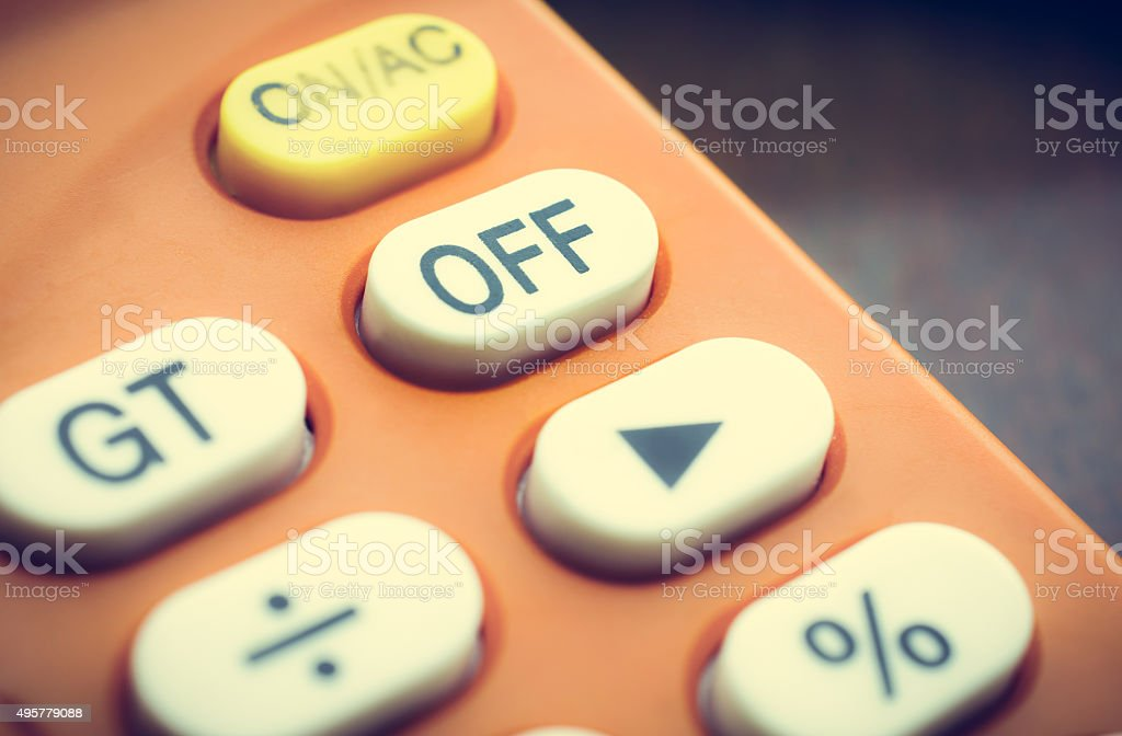 Off Button on old calculator stock photo
