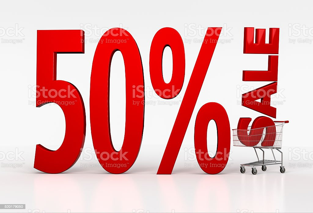 50% off discount. 3d red letters in shopping cart stock photo