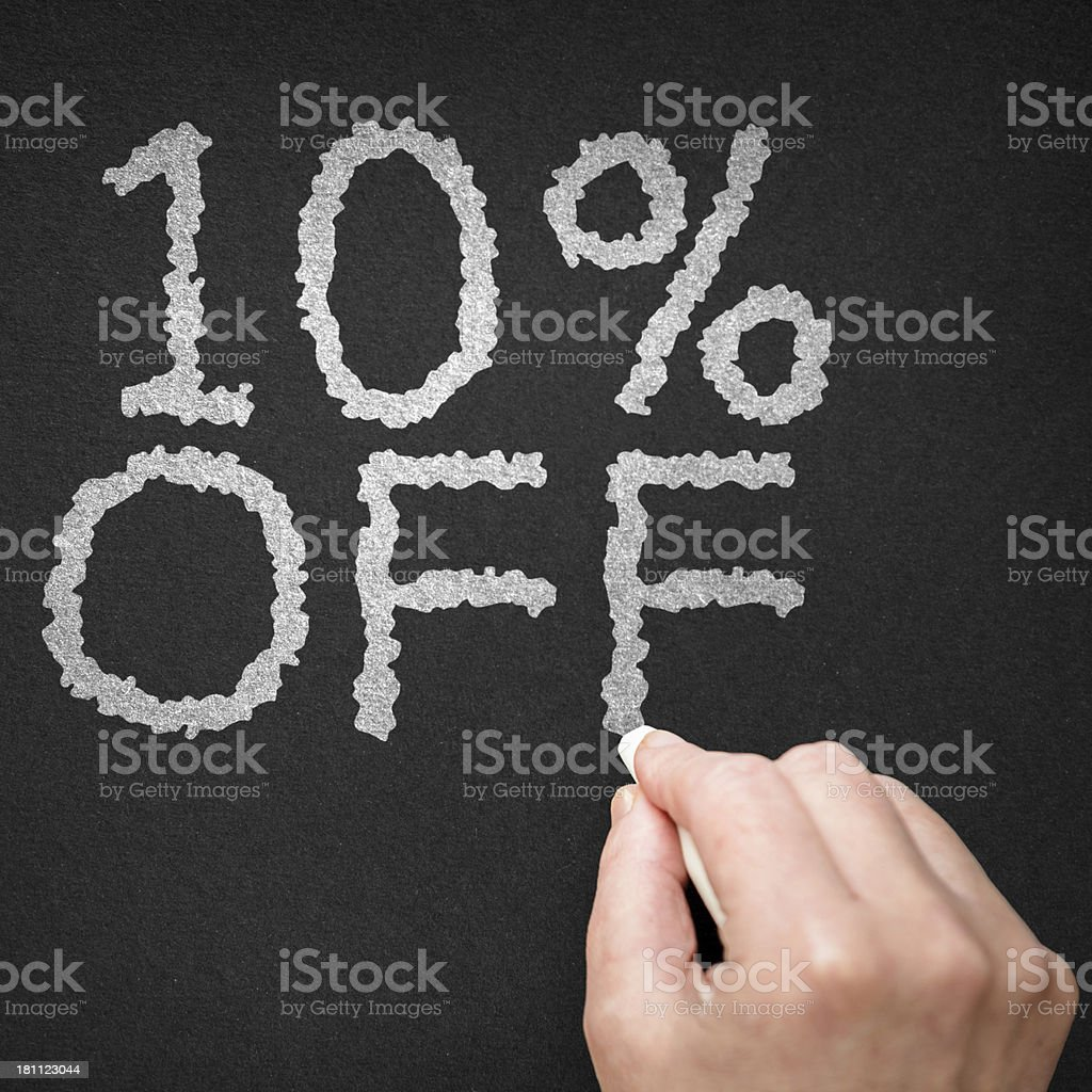 10% off on the blackboard royalty-free stock photo