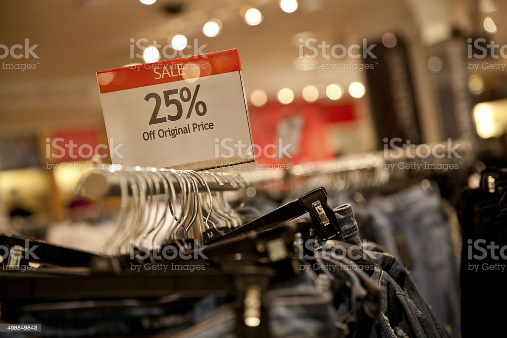 25% off original price Sale stock photo