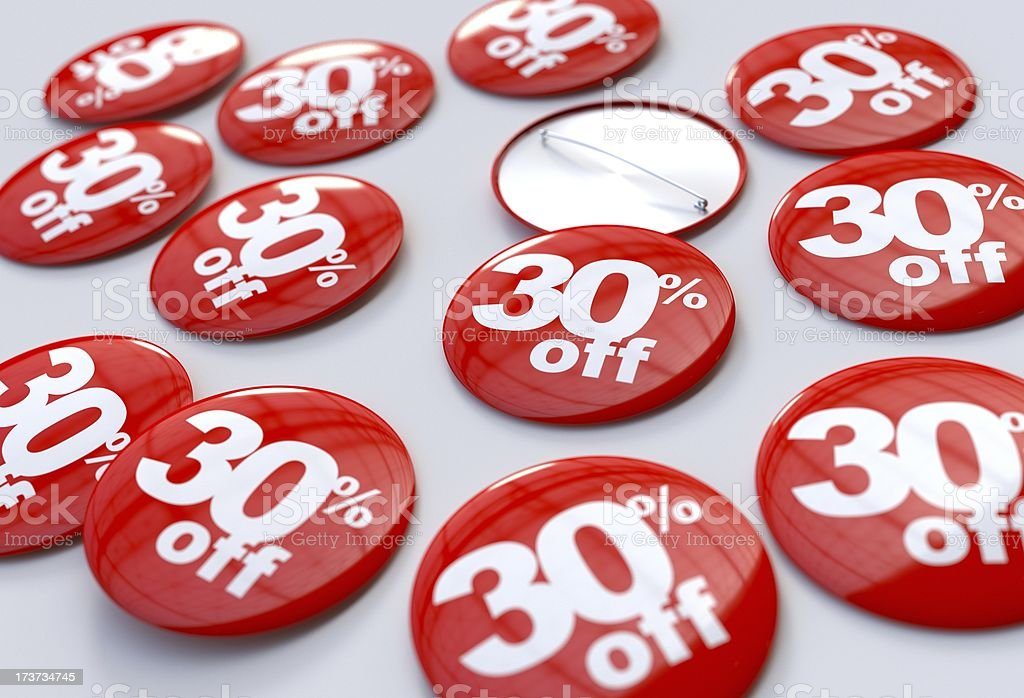 30% off pins royalty-free stock photo