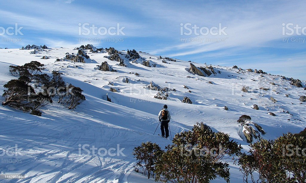 Off Piste Skiing in the Snowy Mountains, Australia stock photo