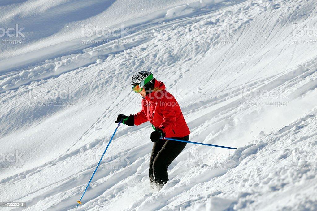 Off piste skiing - Powder snow royalty-free stock photo