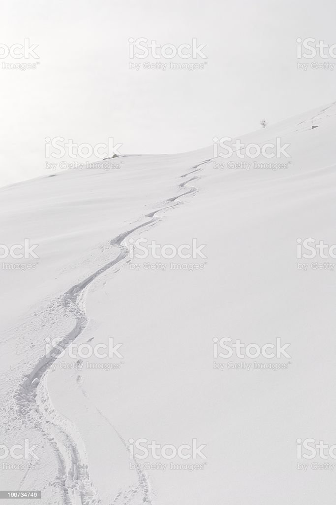 Off piste zig zag royalty-free stock photo