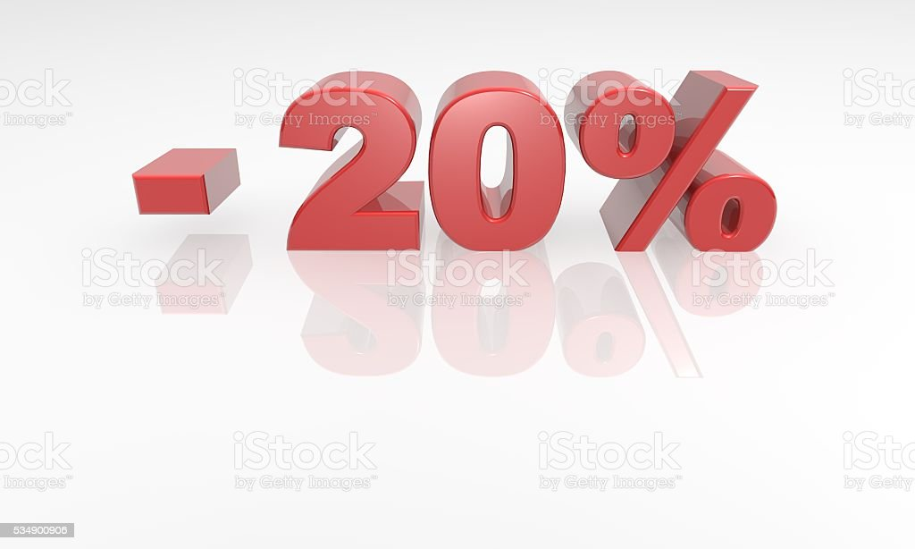 20% off - red 3d text stock photo
