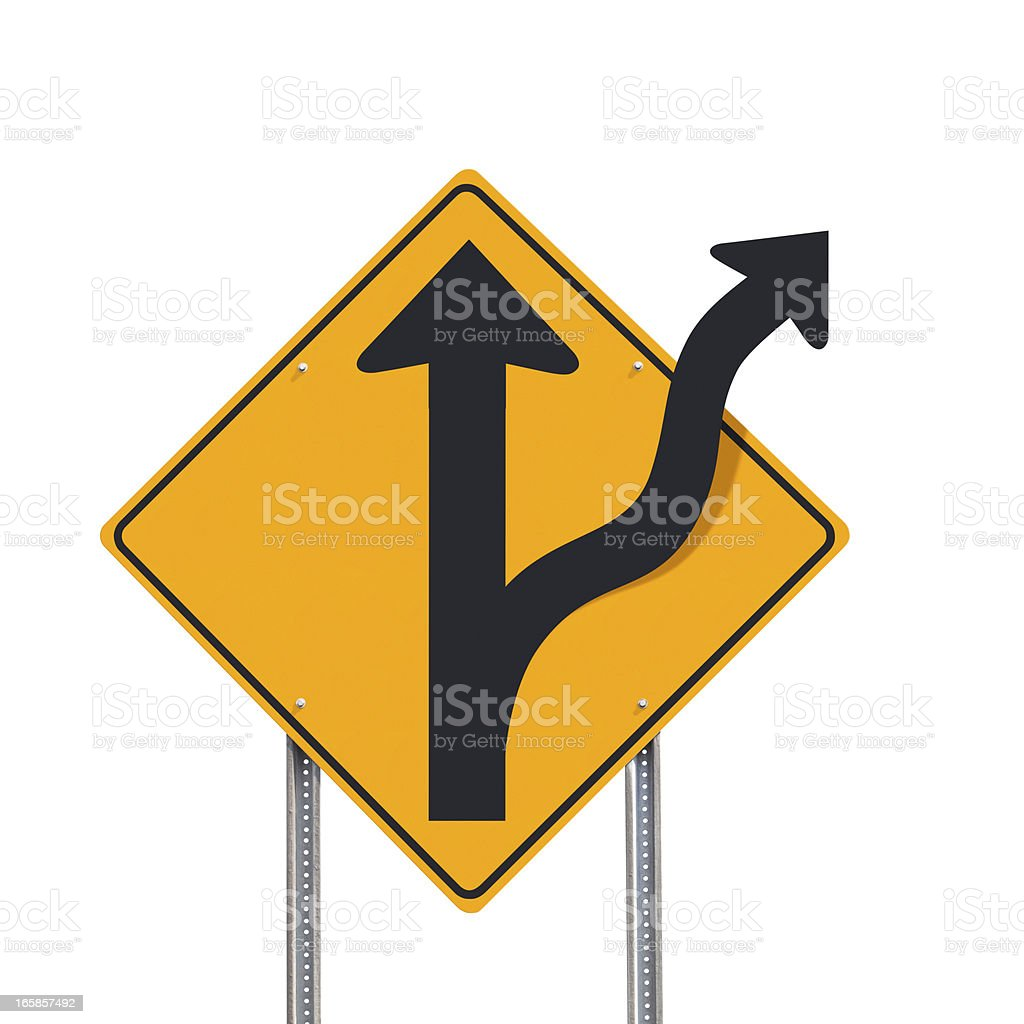 Off Road Alternative Concept Traffic Sign Post Isolated royalty-free stock photo