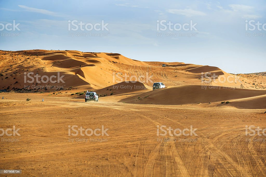 Off road cars in Wahiba stock photo