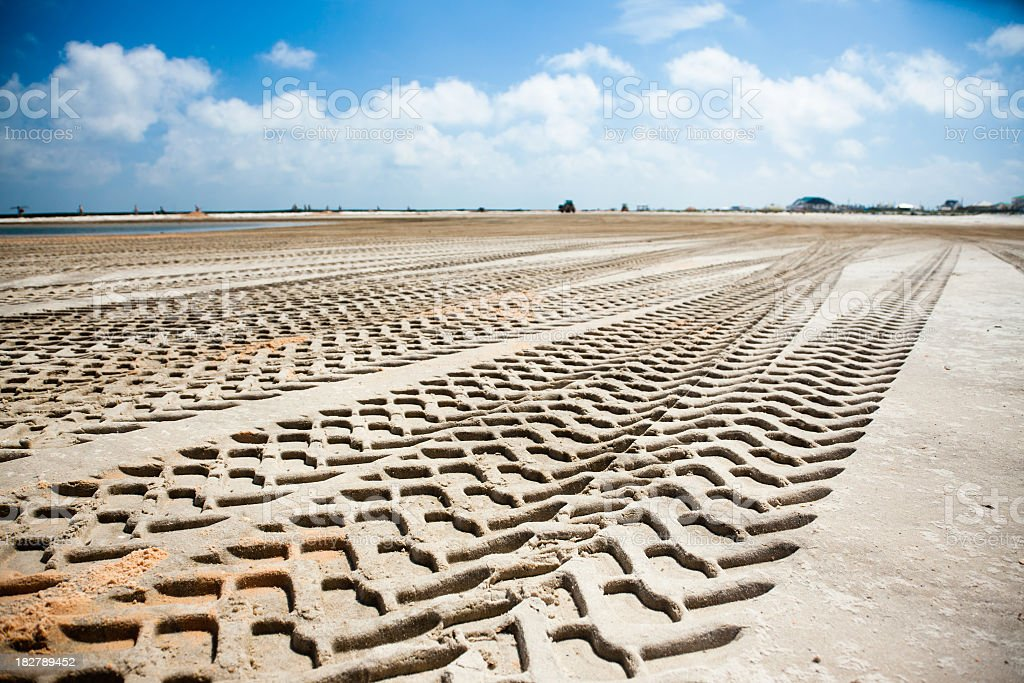 Off road tracks on the beach royalty-free stock photo