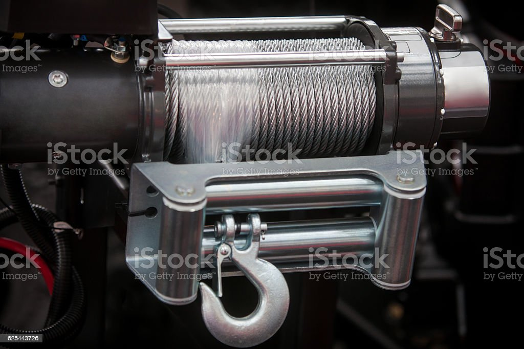 Off road vehicle winch stock photo