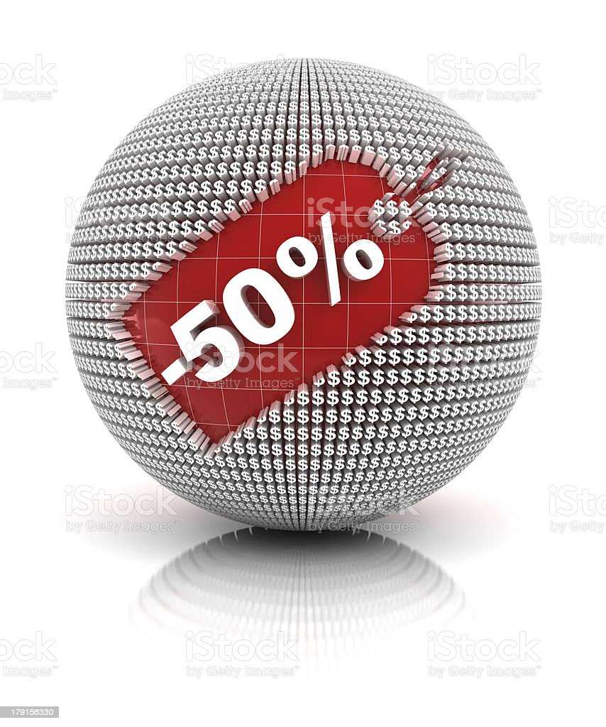 50% off sale tag on a sphere royalty-free stock photo