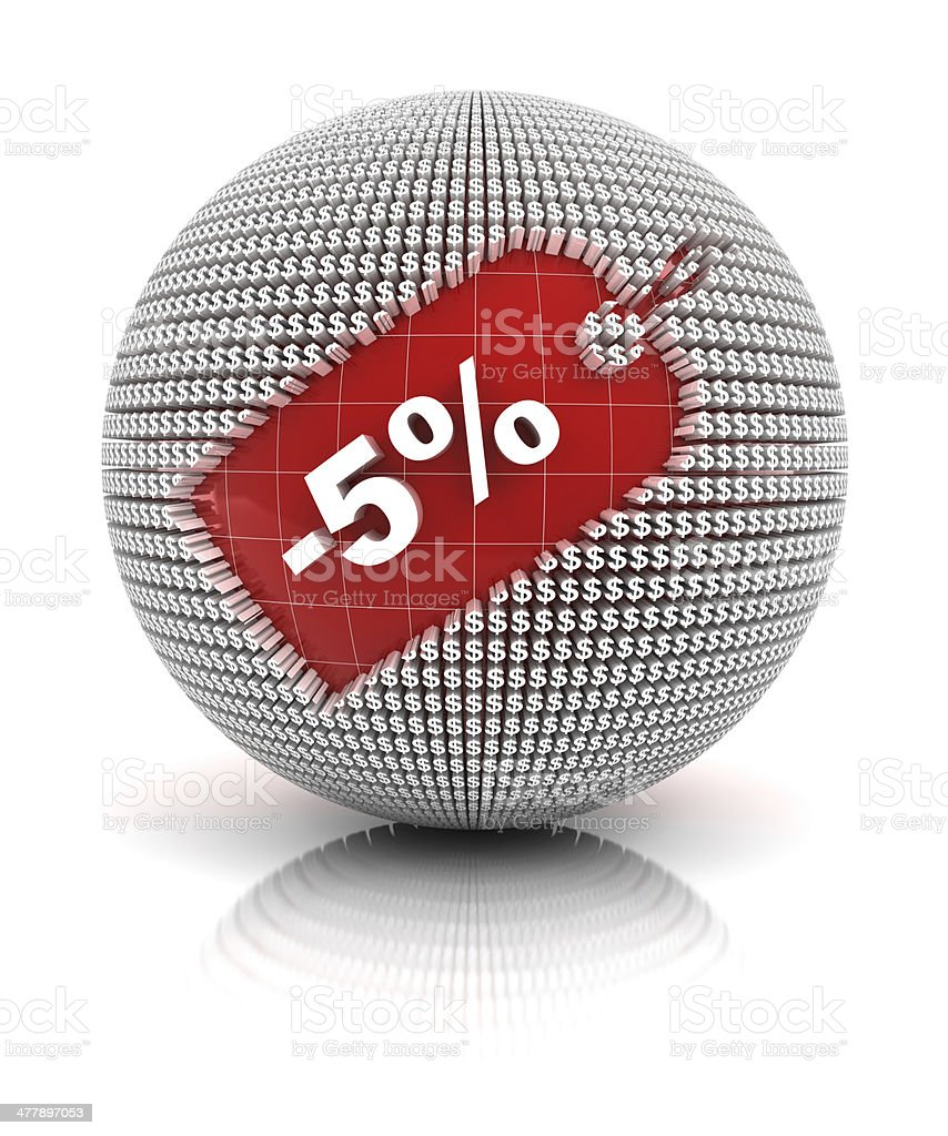 5% off sale tag on a sphere royalty-free stock photo