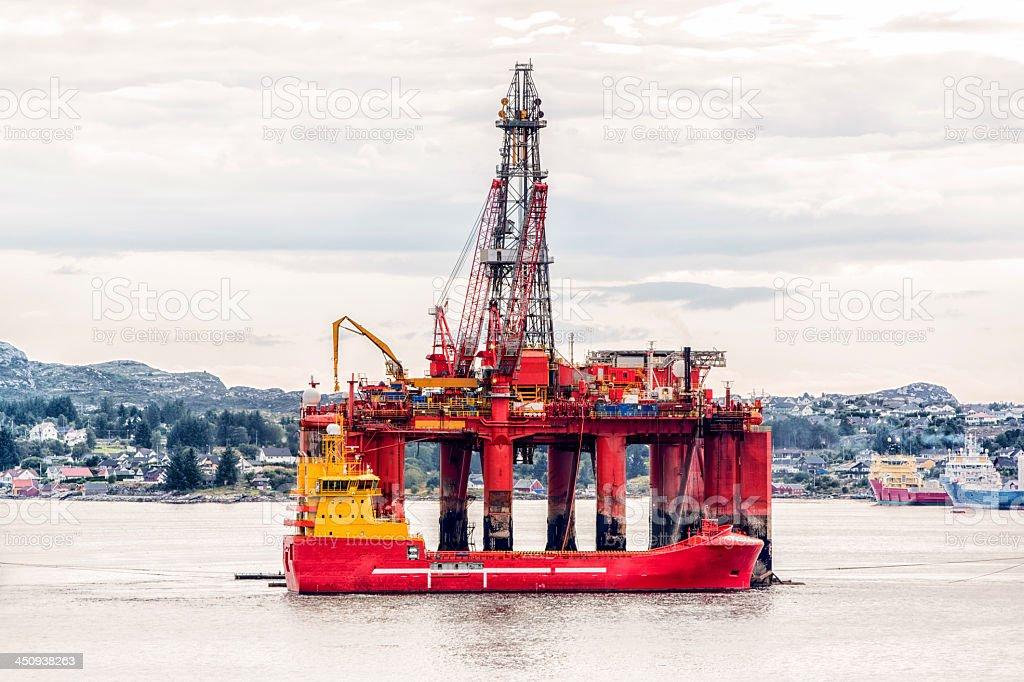 Off Shore Oil Fracking Rig stock photo