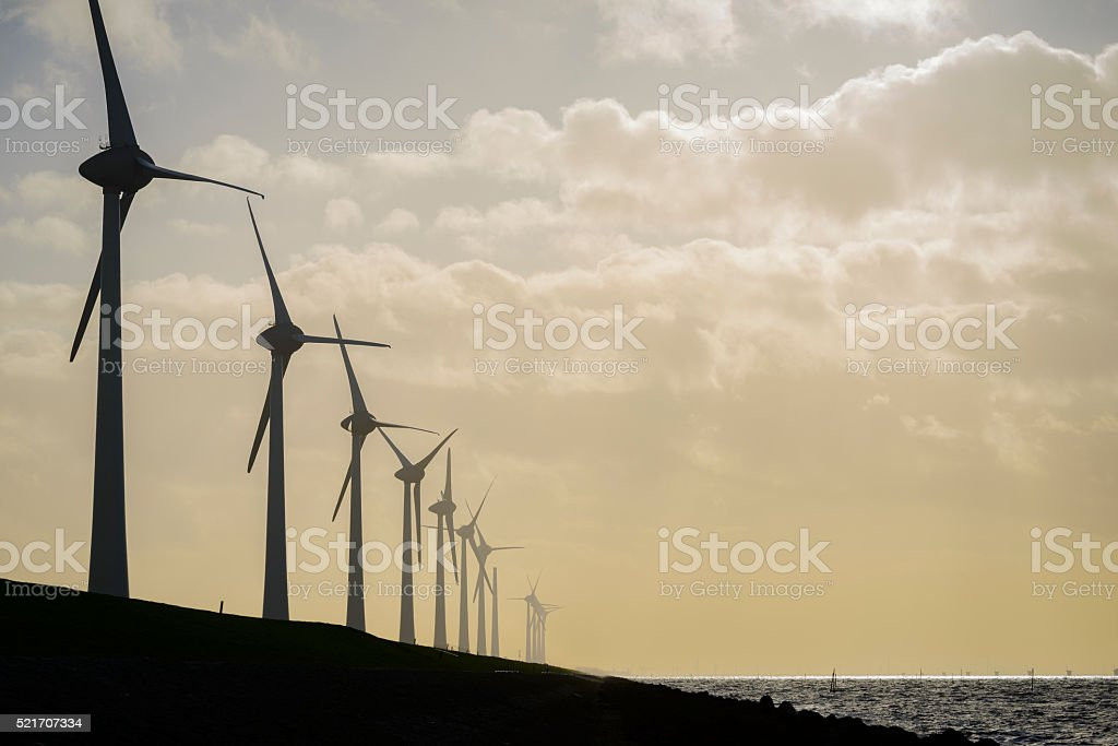 Off shore wind turbine park stock photo