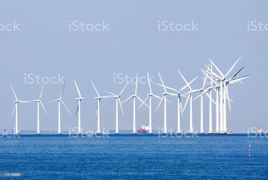 Off shore wind turbines. royalty-free stock photo