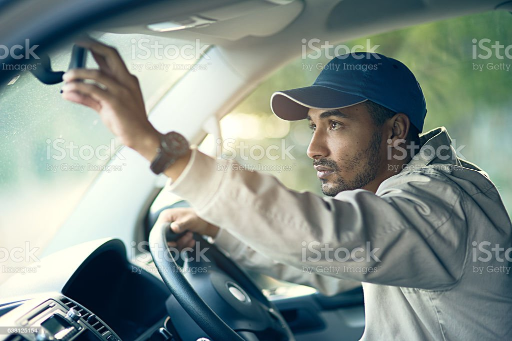 Off to make his next delivery stop stock photo
