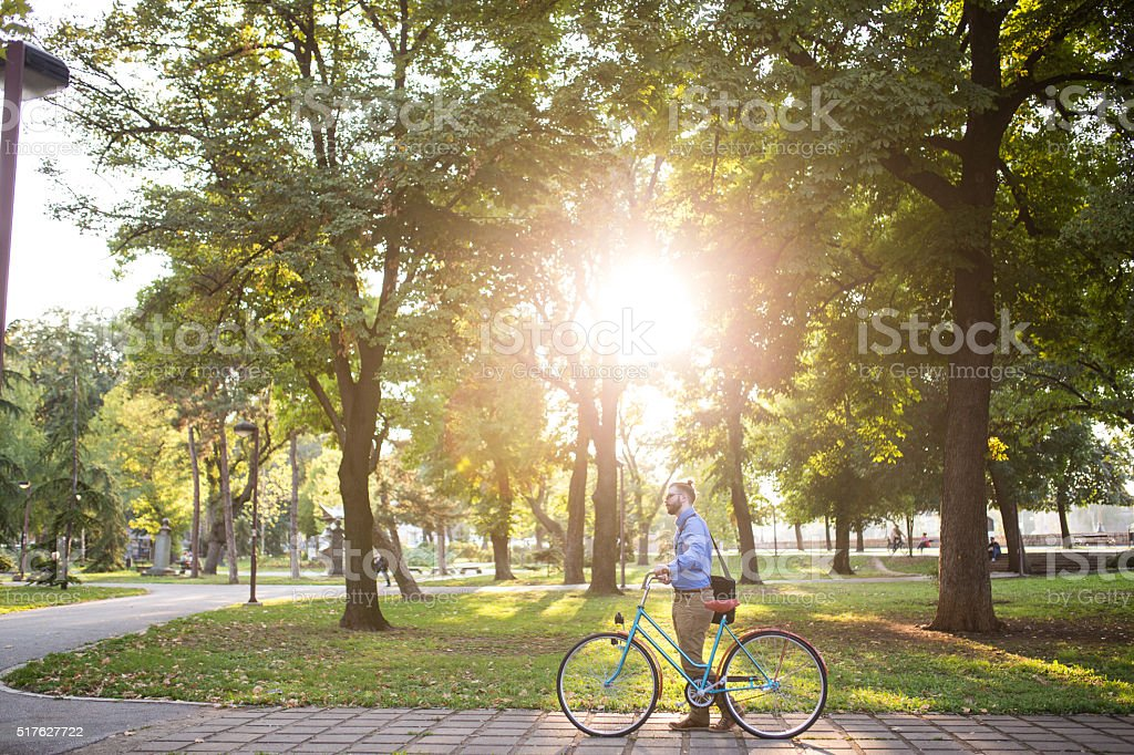 Off to work on a bike stock photo