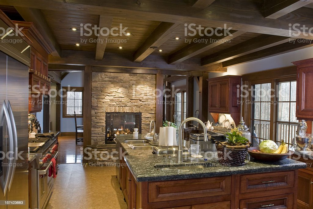 Off-center view of rustic luxury kitchen stock photo