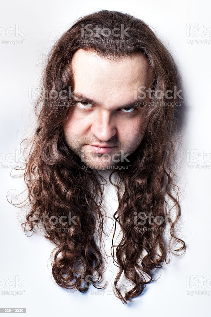 Offended man's face. stock photo