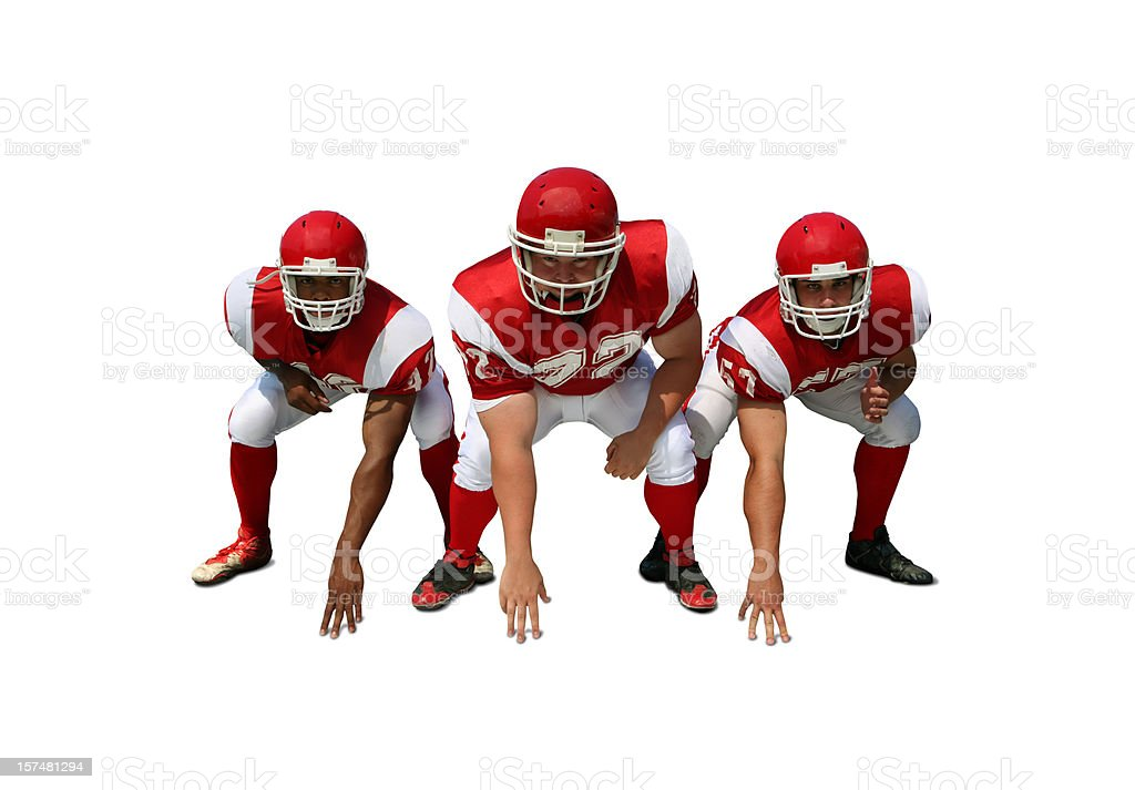 Offensive Linemen with Clipping Path royalty-free stock photo
