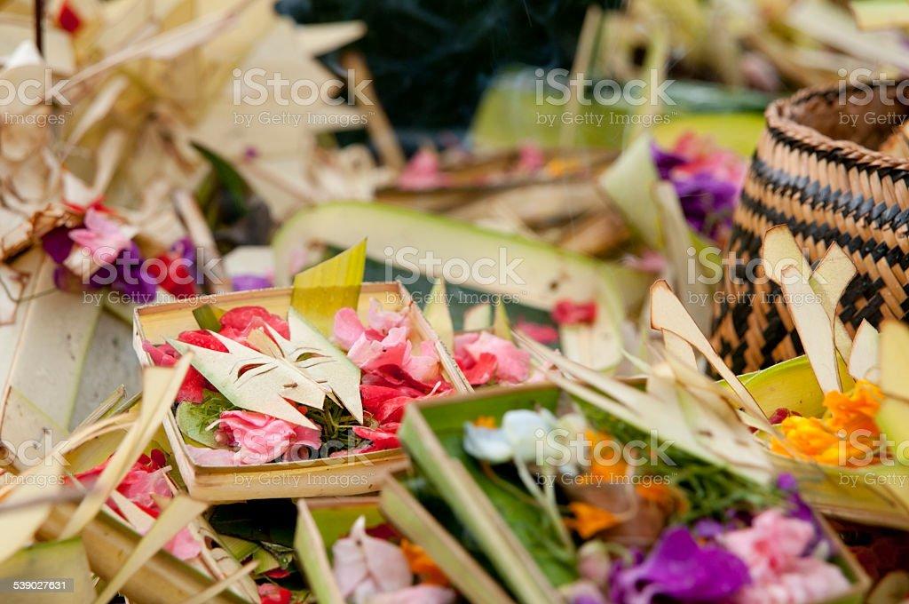 Offer at Tirta Empul Tempel stock photo