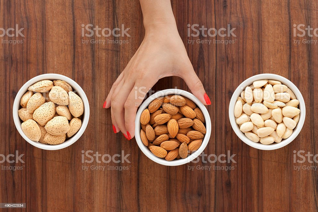 Offering almonds stock photo